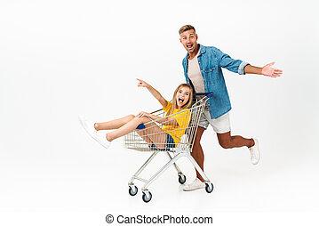 immagine, carrello, cavalcata, famiglia, caucasico, padre, mentre, divertimento, detenere, figlia