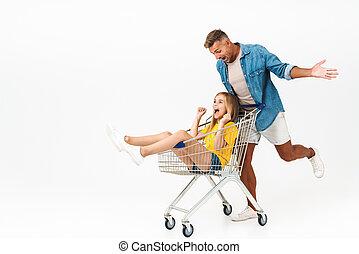 immagine, carrello, famiglia felice, cavalcata, padre, mentre, divertimento, detenere, figlia