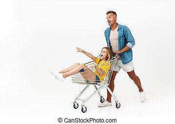 immagine, carrello, famiglia, gioioso, cavalcata, padre, mentre, divertimento, detenere, figlia