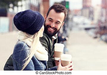 immagine, città, esposizione, giovane, datazione, coppia, felice