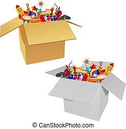 immagine colore, gruppo, di, icone, di, giocattoli bambini, scatola, ., set, di, isolato, objects., vettore, illustrazione
