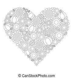 immagine, coloritura, modello cuore, -, contorno, libro, forma, vettore, nero, adulto, primavera, floreale, fiori bianchi, pagina
