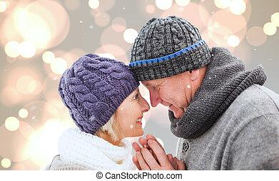 immagine composita, coppia, inverno, maturo