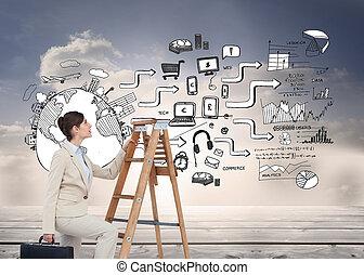 immagine composita, di, donna d'affari, rampicante, scala...