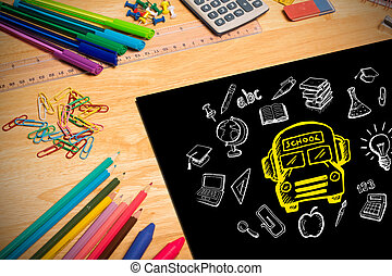 immagine composita, di, educazione, doodles