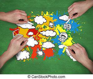 immagine composita, di, multiplo, mani, d