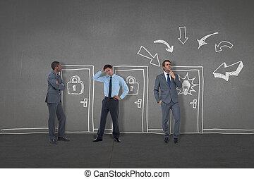 immagine composita, di, persone affari