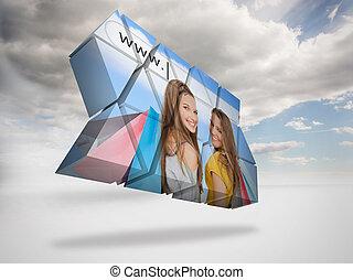 immagine composita, di, ragazze, shopping, su, astratto, schermo