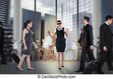 immagine composita, di, rosso, donna d'affari, in, uno,...