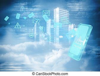 immagine composita, di, sicurezza, interfaccia