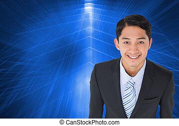 immagine composita, di, sorridente, asiatico, uomo affari