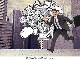immagine composita, di, sorridente, uomo affari, in, uno, hury