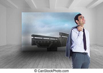 immagine composita, di, sorridente, uomo affari sta piedi
