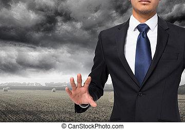 immagine composita, di, unsmiling, uomo affari, toccante