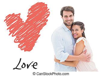 immagine composita, giovane, abbracciare, attraente, sorridente, coppia