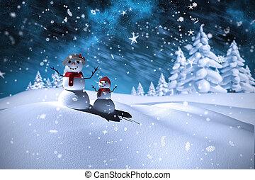 immagine composita, pupazzo di neve, famiglia