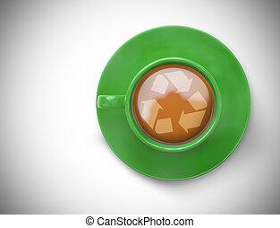 immagine composita, simbolo ricicla