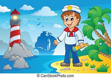 immagine, con, marinaio, tema, 5