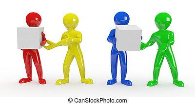immagine concettuale, di, teamwork., 3d