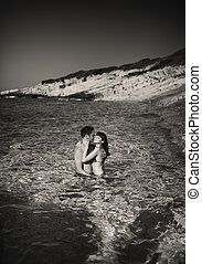 immagine, coppia, black&white, giovane