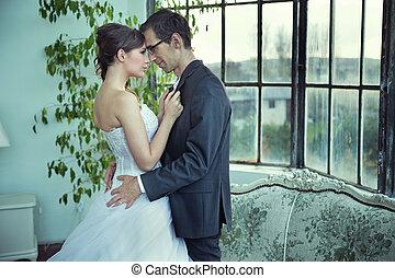 immagine, coppia, carino, presentare, matrimonio