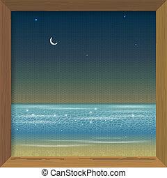 immagine, cornice legno, mare, notte, vista