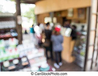 immagine, di, astratto, sfocato, negozio caffè, fondo