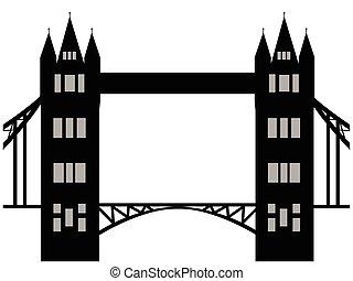 immagine, di, cartone animato, ponticello torretta, silhouette., vettore, illustrazione, isolato, bianco, fondo.