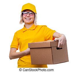 immagine, di, giovane, biondo, corriere, in, giallo, t-shirt, bianco, pulito, fondo