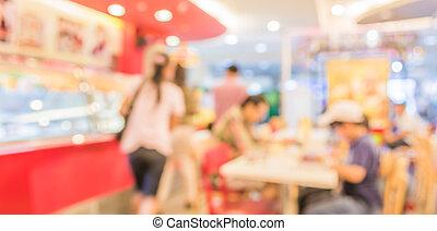immagine, di, negozio caffè, offuscamento, fondo, con, bokeh.