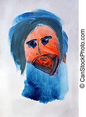 immagine, dipinto, mano, acquarello, ritratto, uomo