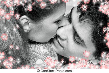 immagine, dolce, coppia, letto, monocromatico, fiori