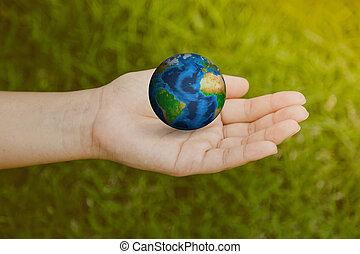 immagine, donna, elementi, mano, filtrato, erba, (, trattato, nasa, verde, ammobiliato, effect., vendemmia, ), questo