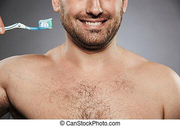 immagine, felice, shirtless, raccolto, uomo