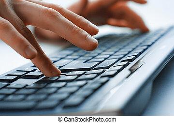 immagine, fuoco, uomo, selettivo, mani, typing.