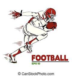 immagine, giocatore football, americano, vettore, fondo