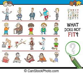 immagine, gioco, fila, mismatched, cartone animato
