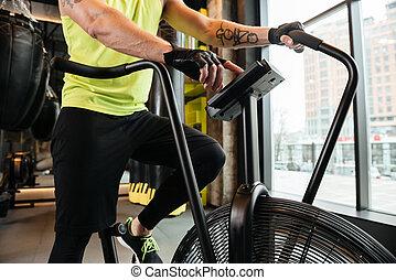 immagine, giovane, muscolare, raccolto, esercizi, cardio, sportivo