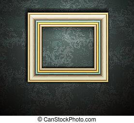 immagine, grunge, parete, vendemmia, cornice, vettore, disegno