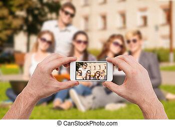 immagine, gruppo, su, mani, chiudere, adolescenti, fabbricazione