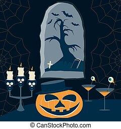 immagine, halloween, cartone animato, notte