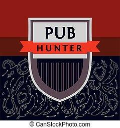 immagine, hunter., pub, fondo, militare, logotipo