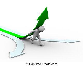 immagine, isolato, arrow., verde, arrampicarsi, 3d, uomo