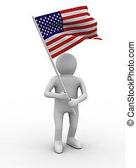immagine, isolato, fondo., bandiera, onde, bianco, uomo, 3d