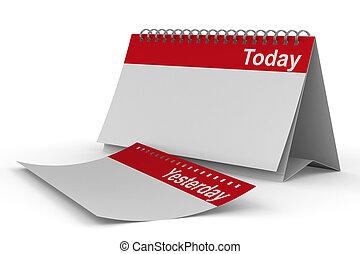 immagine, isolato, fondo., bianco, calendario, oggi, 3d