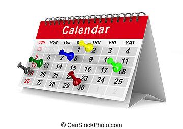 immagine, isolato, fondo., piolini, bianco, calendario, 3d
