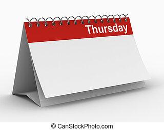 immagine, isolato, giovedì, fondo., bianco, calendario, 3d