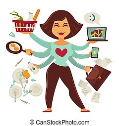 immagine, isolato, persona, vettore, femmina, multitasking,...