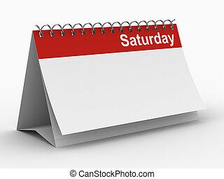 immagine, isolato, sabato, fondo., bianco, calendario, 3d