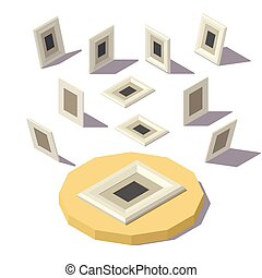 immagine, isometrico, lowpoly, cornice